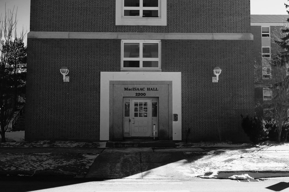 MacIsaac Hall entrance. Photo: Evan Perry.
