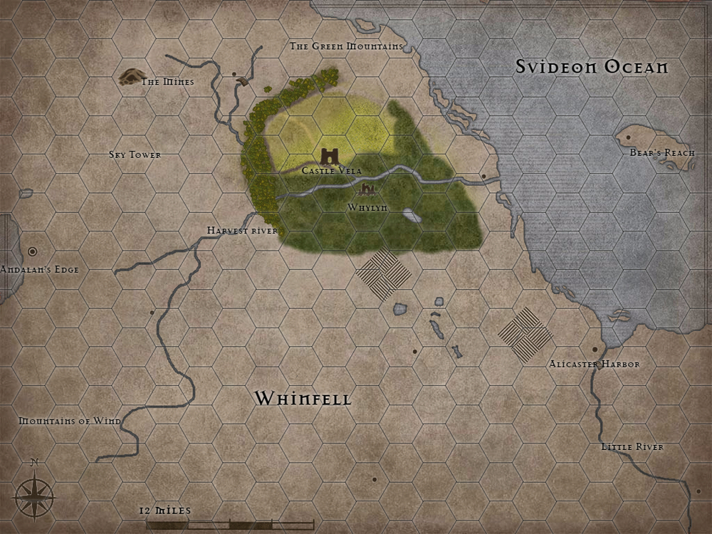 The majority of this map is unknown with a few features left on for reference. The colored portion represents the explored area surrounding Castle Vela.