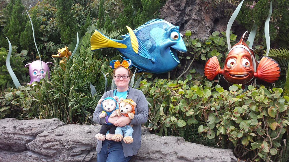 Visiting Dory in our Dory and Nemo hoodies!