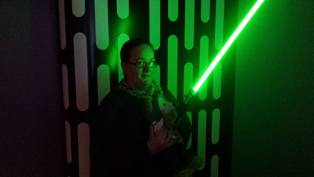 I got to hold a light saber!