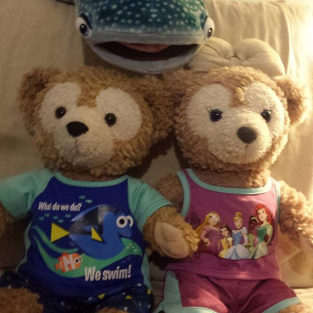 Changed Duffy and Shellie May into some clothes that match this weather. #duffythedisneybear