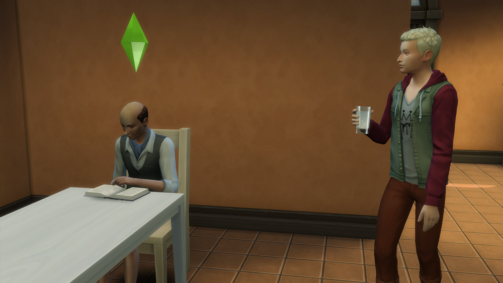 Salvador (reading) and Gordon (drinking water).