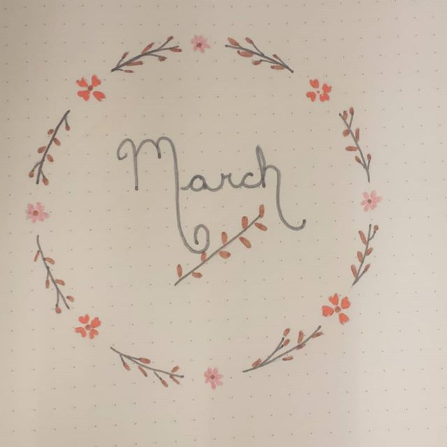 March cover page. #bulletjournal #bujo #monthlyspread #monthlycover
