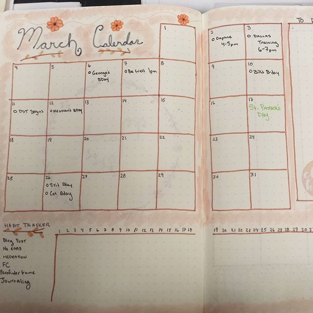 March #monthlyspread for my #bulletjournal.