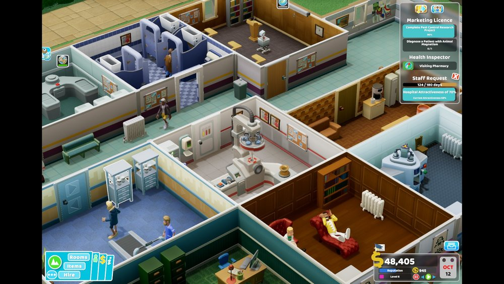 Despite how busy I've been, I've been relieving my stress with a bit of gaming every night before bed. I'm super into Two Point Hospital at the moment! I play it every night. It's so fun. The lightheardness makes it the perfect game to lift my mood.