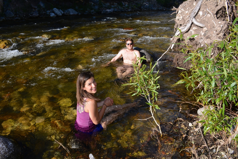 Anne and Michael taking a river bath.