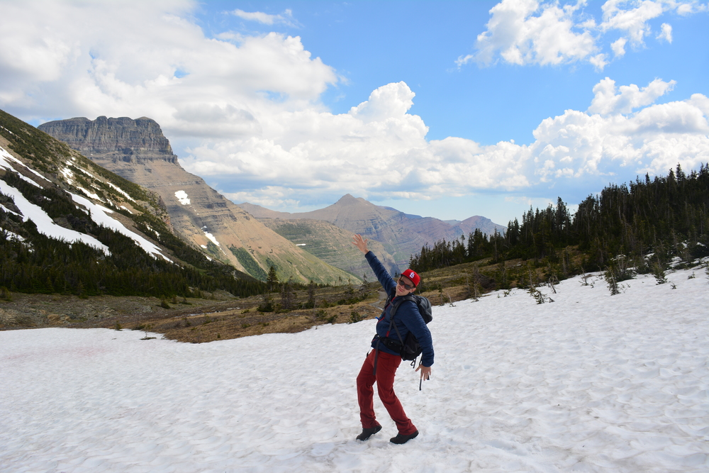 Hiking across the remaining snow, up to Swiftcurrent Pass