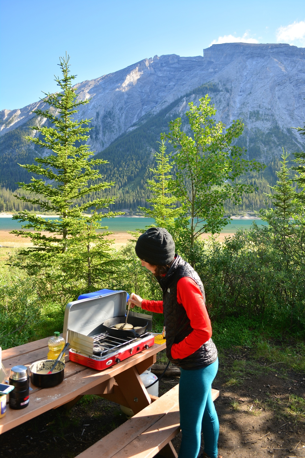 Making pancakes at our campsite in Spray Lakes West just outside of Canmore