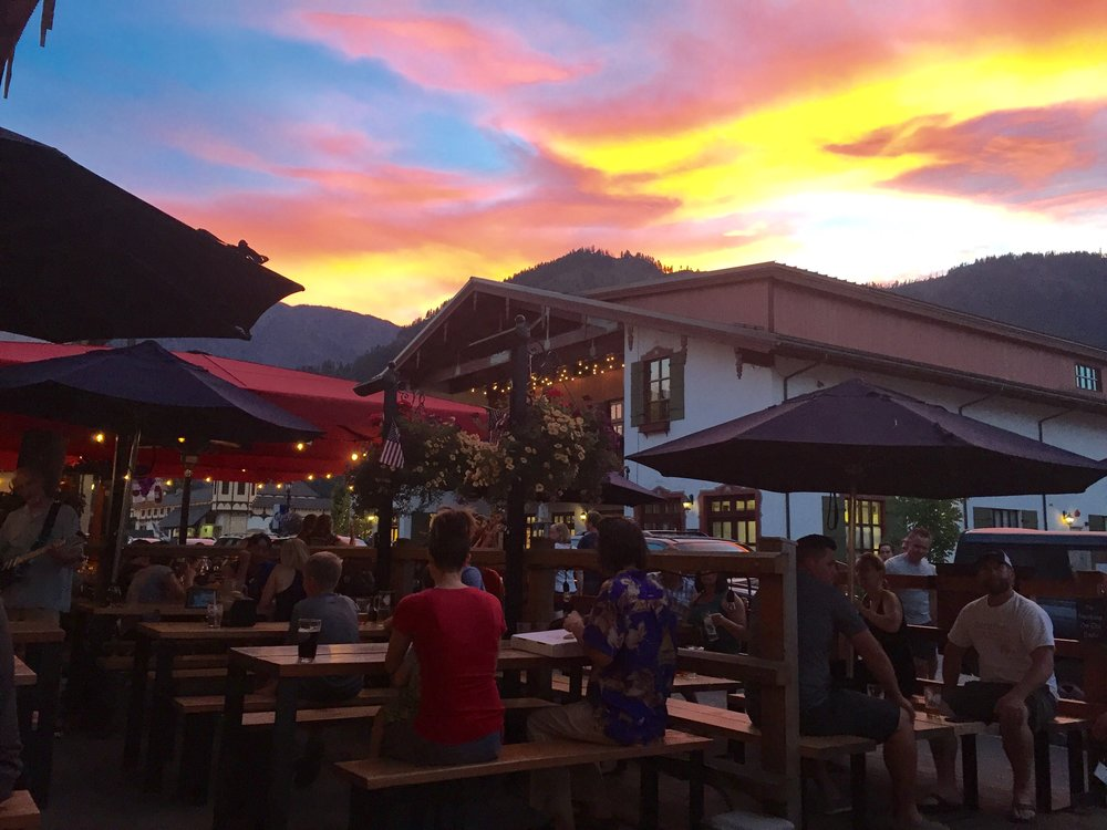 Sunset in Leavenworth, Wa while enjoying a beer at Icicle Brewery