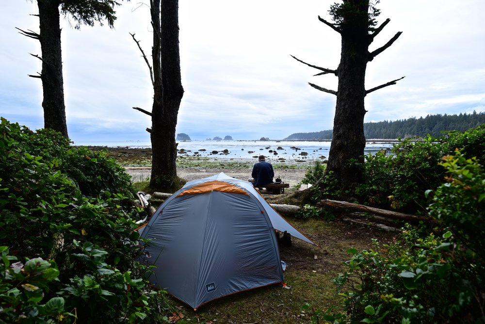 Campsite with a beachfront view (Sand Point, Olympic National Park)