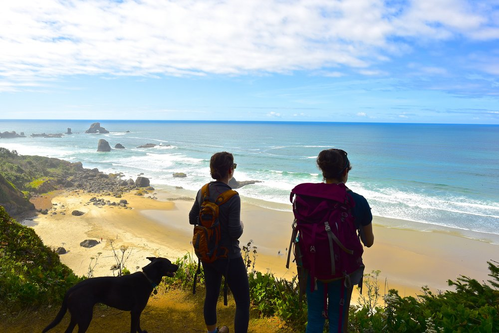 Hiking in Ecola State Park with Lindsey's dog, Lily