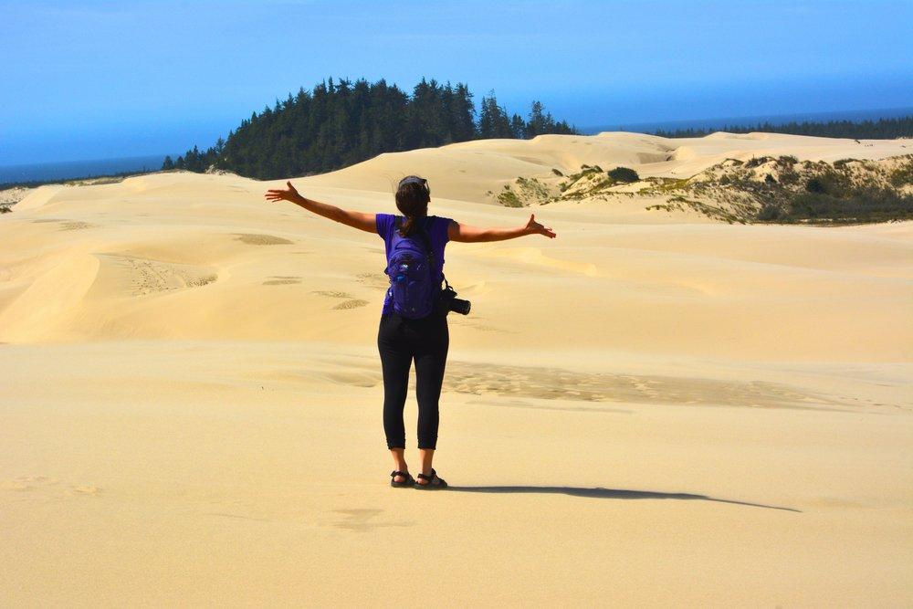 Screaming into the openness on the  John Dellenback Dunes Trail