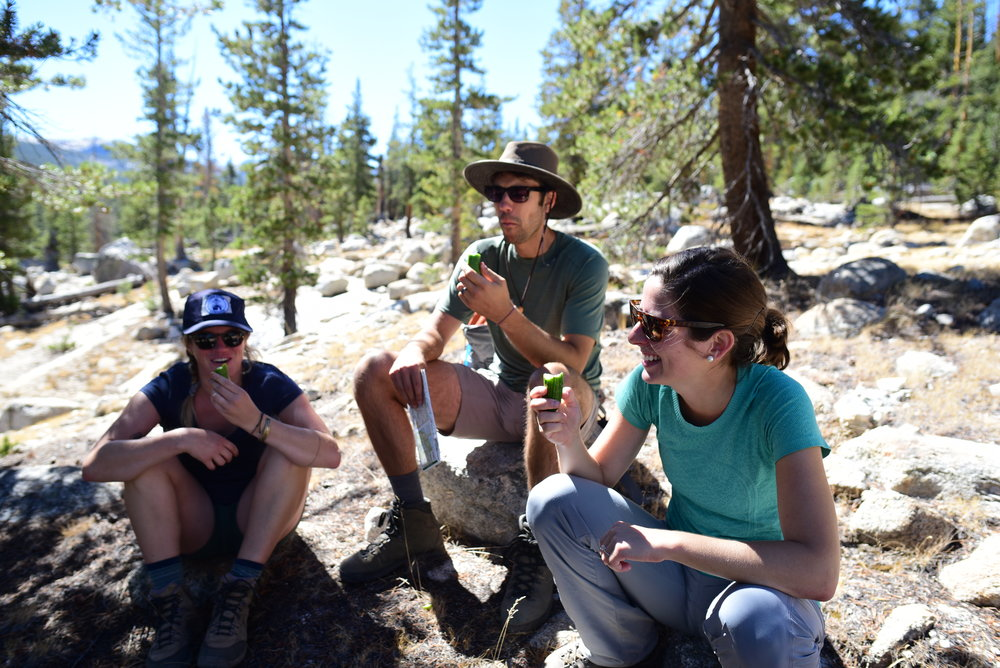 Cucumber snack break on a small section of the John Muir Trail in Yosemite