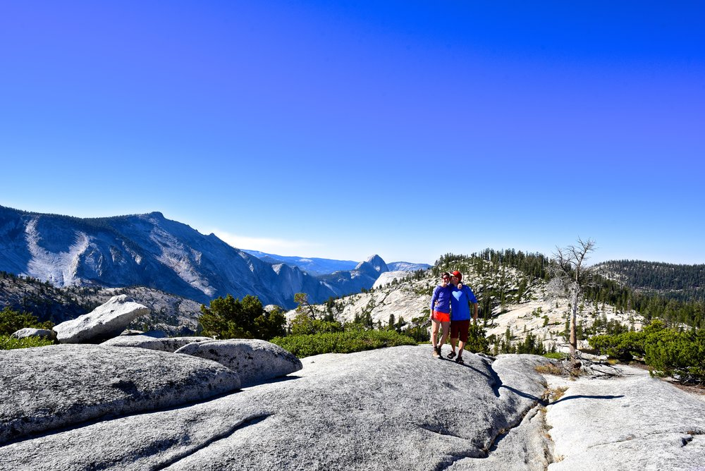 First views of Half Dome from above Olmstead Point