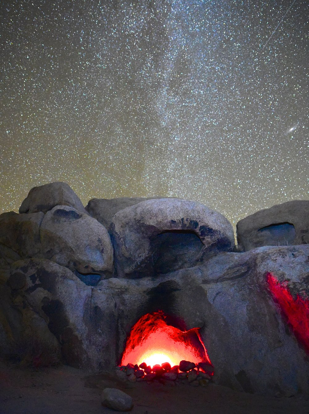 """Secret - This """"campfire' was made by a red reading light...looks a little bizarre, but pretty amazing below the stars"""