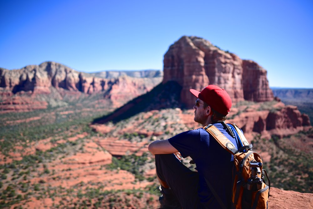 Looking out towards Cathedral Rock from Bell Rock in Sedona, AZ