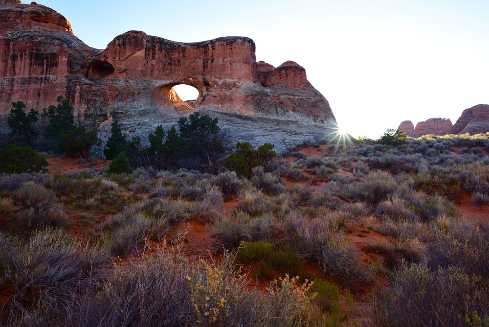 Sunset at Tunnel Arch in Arches National Park