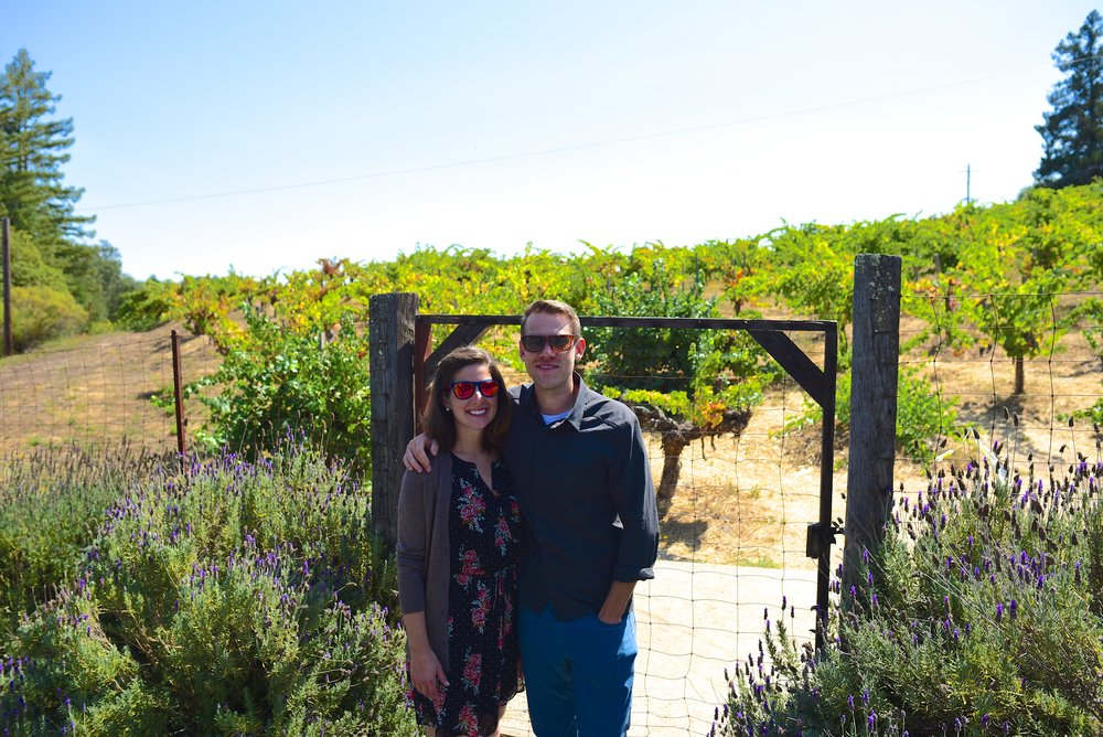 In front of the vineyard at Hess winery