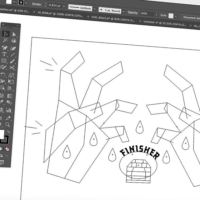 Some #illustrator work here's a wireframe preview of a t-shirt design in the works . #minimaldesign #illustration #wip #graphicdesign #dungeon #art #digitalart #ffxv