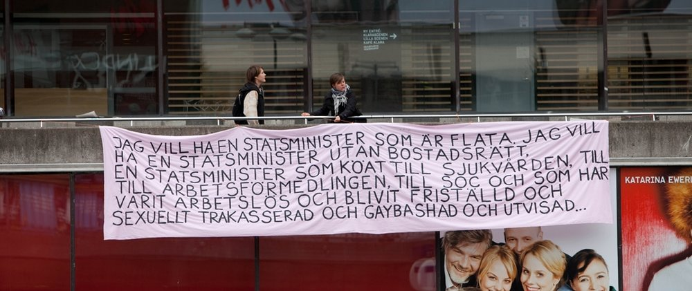 I want a president...(a collective reading), Stockholm, Sweden, 2010. Photo: Nadia Mazzoni
