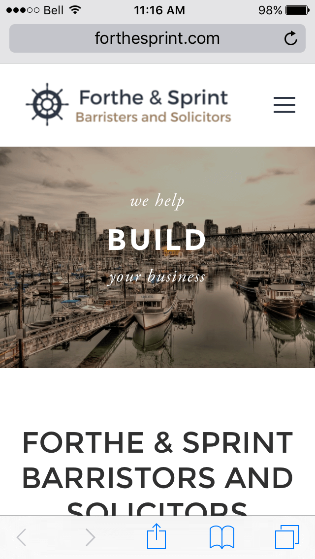 Forthe & Sprint LLP website viewed on mobile