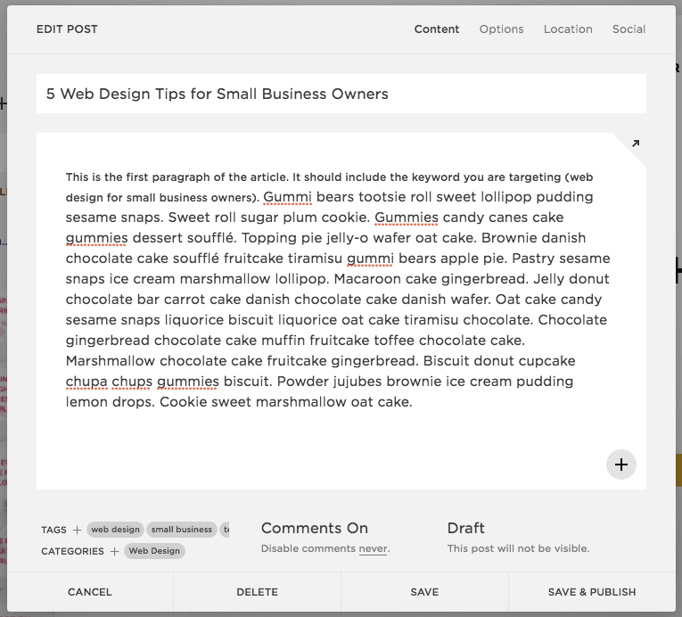 Keyword in First Paragraph blog post | Squarespace SEO blogging tips