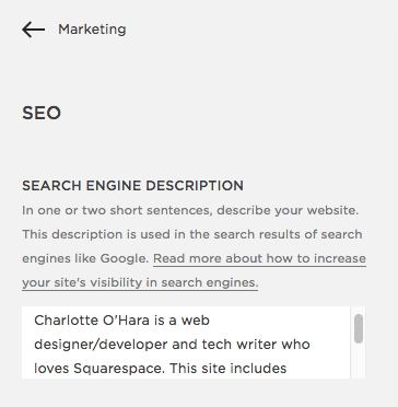 Update Search Engine Description in Squarespace Settings | Squarespace SEO Settings | how to optimize your squarespace settings for seo