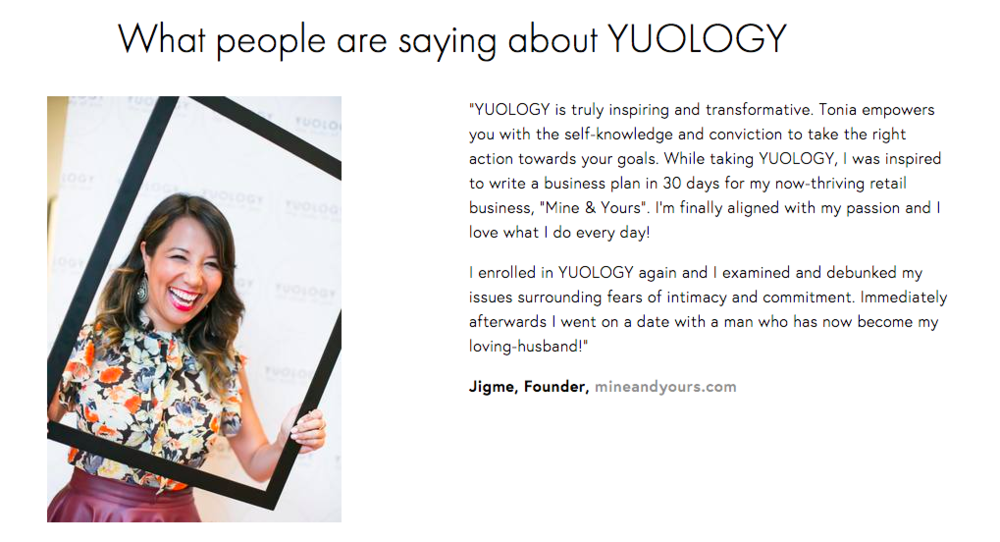 YUOLOGY homepage testimonials | website reveal for YUOLOGY