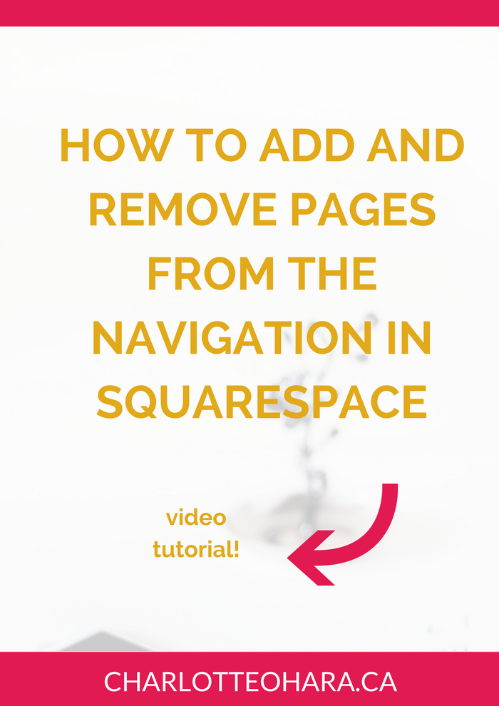 Add and remove pages from navigation in Squarespace