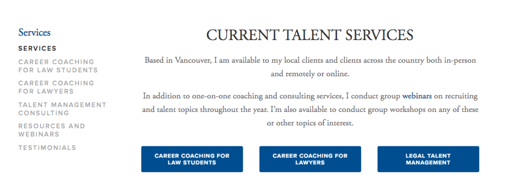 A look at the Services section of the Current Talent website