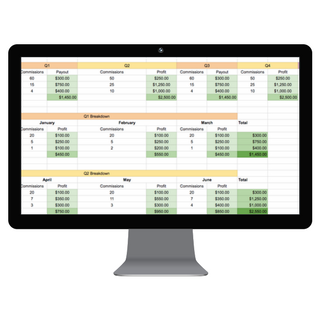 Income Planner Spreadsheets - desktop mockup