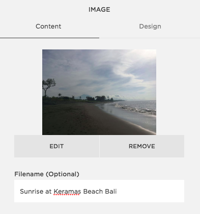 Squarespace Filename field filled out for image name