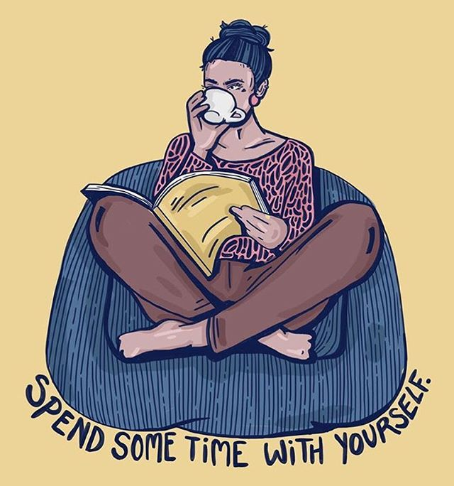 Grab a book, make some tea, write in your journal, take a bath... whatever it is, do it for you. 🌸 | 🎨: @bykellymalka