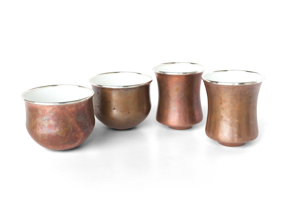 Copper & White Enameled cups