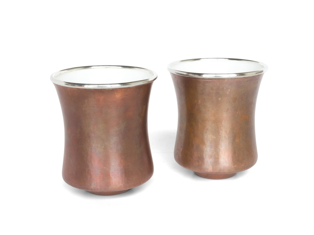 Copper & White Enameled cup set (Tall)