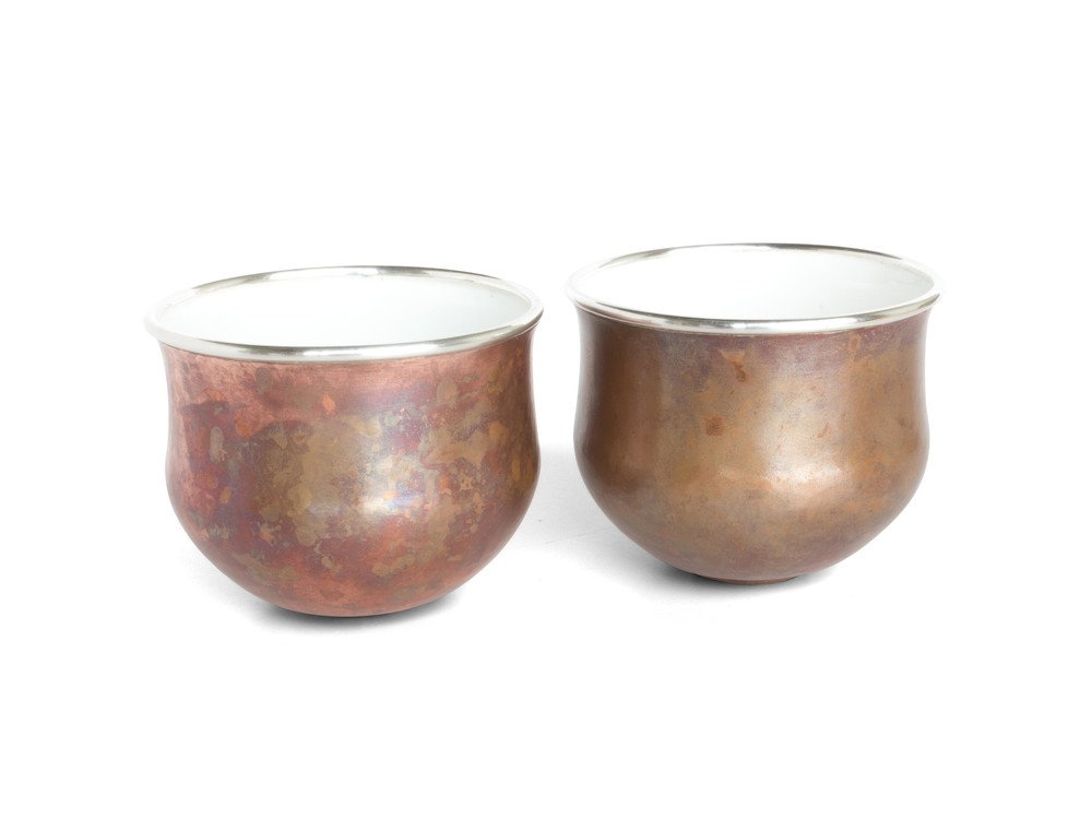 Copper & White Enameled cup set (Short)