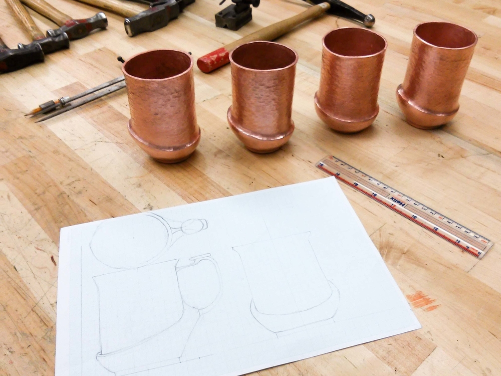 - This set of four Moscow Mule Mugs are hand raised from 8