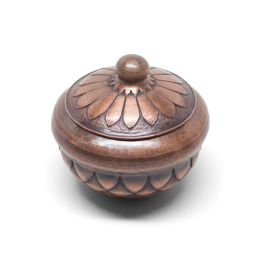 Copper Container with Chased Scale Pattern