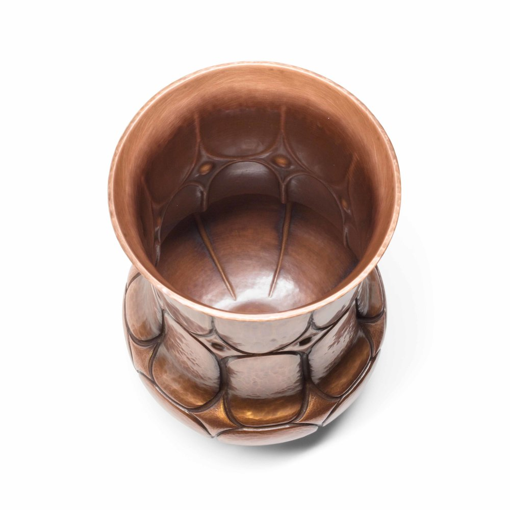 Copper Vase with Chased Diamond Design