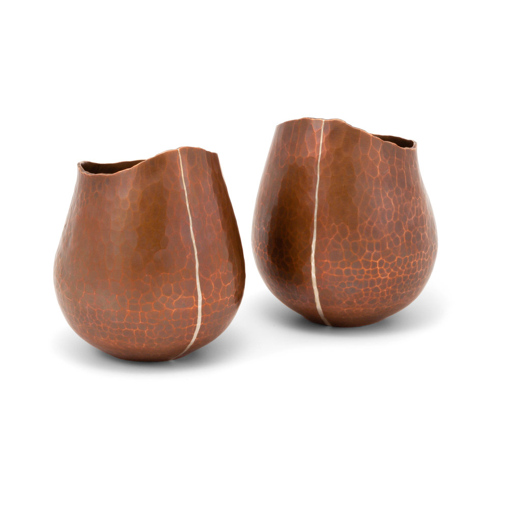Copper Vessels with Fine Silver Inlay