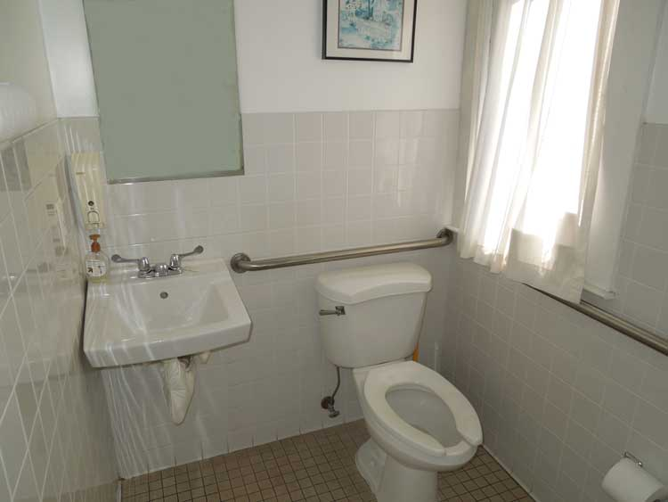 The bathroom is handicapped-accessible.