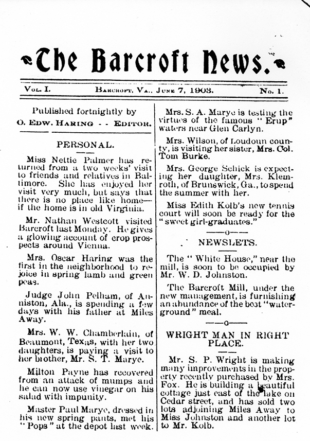 The original issue of Barcroft News
