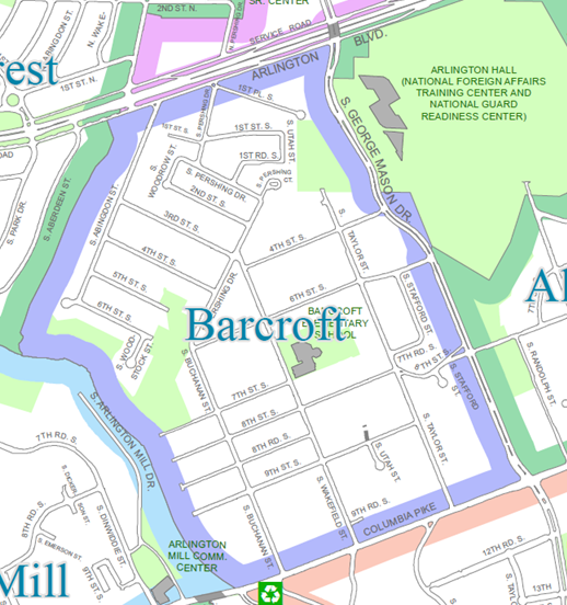 Map of Barcroft (click map to expand).  Source: http://gis.arlingtonva.us/Maps/Standard_Maps/Civic_Associations/Civic_Association_map.pdf, Retrieved on January 31, 2017