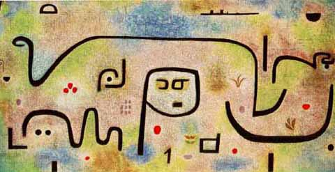 Insula Dulcamara  is one of Klee's most famous paintings. It turns out that Klee had first intended to call it  The Island of Calypso  based on Homer's saga about Odysseus. However, he then thought this title was too obvious. As a suitable text for this movement I found a beautiful, picturesque poem by the Israeli renowned poetess Lea Goldberg, describing the agony of the forsaken Calypso.