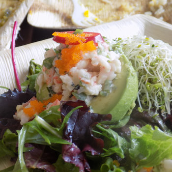 Tobiko roe atop the Shrimp & Avocado Salad.