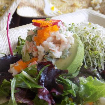 Tobiko roe atop the Shrimp & Avocado Salad.