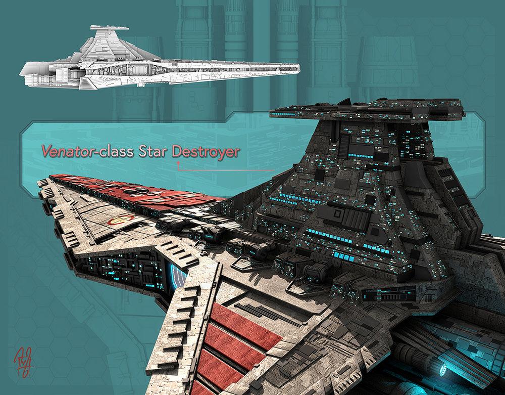 Venator-class Star Destroyer My take on the Venator-class Star Destroyer that I used in my 'Arrival'illustration.