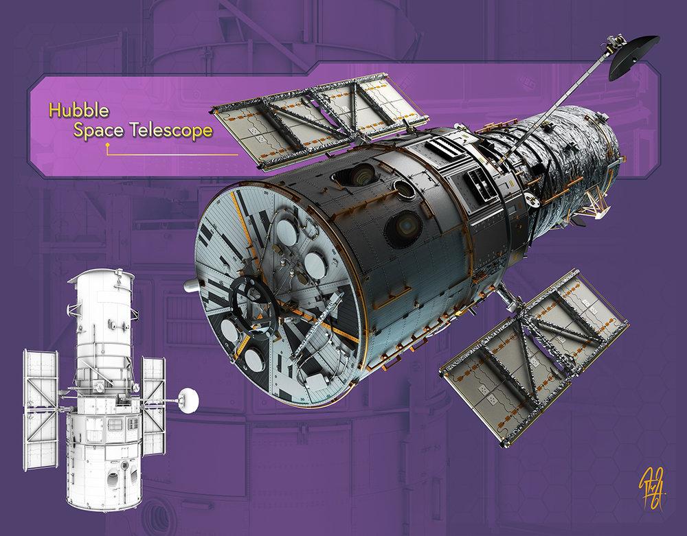 "Hubble Space Telescope Hi-Rez model of the Hubble Space Telescope that I used in my ""Visions of the Past""illustration."