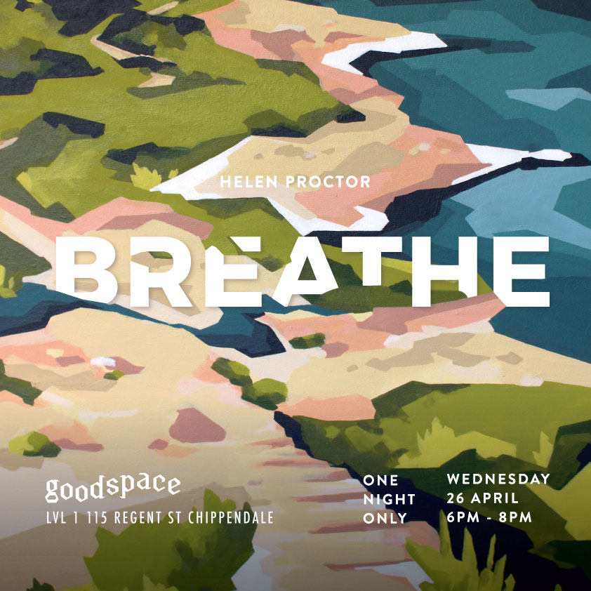 Breath Exhibition Helen Proctor at Goodspace, Chippendale, Sydney. Art, landscapes, Sydney rock pools.