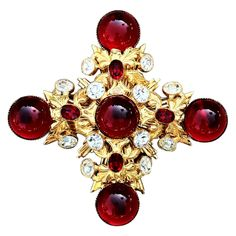 Jeweled Maltese Brooch c.1970's      (AVAILABLE FOR PURCHASE)